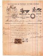 COGNAC FACTURE DU 16 MARS 1889 CONSTRUCTION DE VOITURES CARROSSIER  L ANCELLIER A COGNAC TIMBRE QUITTANCE 10c - France