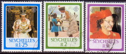 SEYCHELLES 1986 SG #640//43 Part Set Used 3 Stamps Of 5 60th Birthday Of Queen Elizabeth II - Seychelles (1976-...)