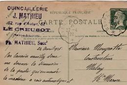 Carte Commerciale 1926  / Entier Pasteur 172 CP1 / Quincaillerie MATHIEU / 71 Le Creusot - Cartes
