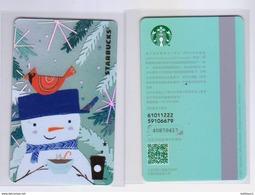 2017 China Starbucks Coffee Snowman MSR Card - Chine