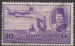 EGYPT 1947 King Farouk, Delta Barrage And Douglas Dakota Transport - 10m - Violet FU - Poste Aérienne