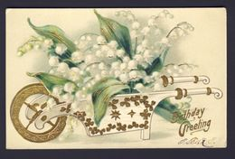 Birthday Greeting ~ White, Gold Wheel, Gold Clover Flower Cart With White Lily Of Valley Flowers, Embossed - Fiori