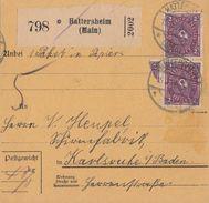 DR Paketkarte Mif Minr.137, 2x 191 Hattersheim 15.9.22 Geprüft - Briefe U. Dokumente