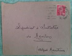 Empreinte Daguin (COU203) COULOMMIERS/SON PARC/VALLEE DU/GRAND MORIN Bloc Dateur à Droite. Enveloppe Du 09/07/1949 - Postmark Collection (Covers)