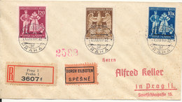 Bohemia & Moravia Registered Express FDC 15-3-1944 Fifth Anniversary Of Protectorate Complete Set Of 3 - Böhmen Und Mähren
