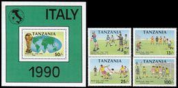 Soccer Football Tanzania #725/8 + Bl 127 1990 World Cup Italy MNH ** - Coupe Du Monde