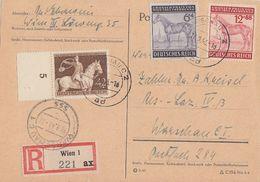 DR Karte Mif Minr.854SR, 857,858 Wien 17.8.43 Zensur Gel. Nach Warschau - Deutschland