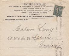 FRANCE LETTRE SEMEUSE LIGNEE 15c PERFOREE SG SOCIETE GENERALE  POUR COURBEVOIE  /3 - 1921-1960: Modern Period