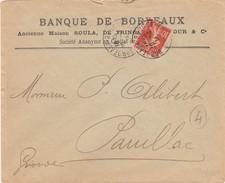 FRANCE LETTRE SEMEUSE 10c  PERFOREE BB BANQUE DE BORDEAUX  - BORDEAUX 20.4.14 POUR PAUILLAC GIRONDE   /3 - Storia Postale