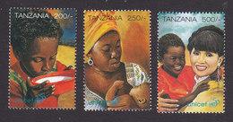 Tanzania, Scott #1506-1508, Mint Never Hinged, UNICEF 50th Anniversary, Issued 1996 - Tanzania (1964-...)