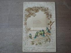 5 Mésanges Bleues Avec Feuillage En Reliefs Et Brillant, 1901, Timbre (D3) - Oiseaux