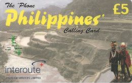 CARTE+PREPAYEE-INTEROUTE-5£-THEPHONE PHILIPPINES En Jaune-PAYSAGES-TB E-RARE - France