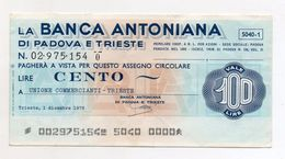 Italia - Miniassegno Da Lire 100 Emesso Dalla Banca Antoniana Di Padova E Trieste Nel 1976 - (FDC6460) - [10] Assegni E Miniassegni