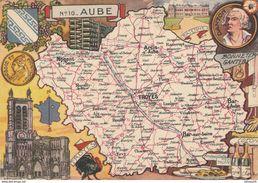 L'AUBE : Carte Géographique (1945) - Troyes, Bar-sur-Seine, Nogent, Arcis, Chaource, ... Danton - Cartes Géographiques