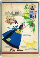 CORRIE HAZENDONK  Volendam Holland  Olandesina Sotto La Pioggia Ombrello Verde  Cane  Organetto - Illustratori & Fotografie