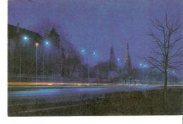 K2. Latvia SSR USSR Soviet Postcard Riga At Night Komsomol Embankment Der Komsomol-Kal Photo By Balodis - Latvia
