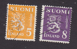 Finland, Scott #176F, 176H, Used, Lion, Issued 1946 - Finland