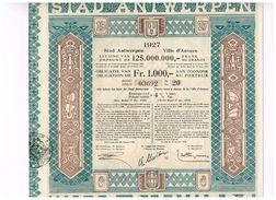 Obligation Ancienne - Stad Antwerpen Leening 1927 - Ville D'Anvers Emprunt 1927 - Titre De 1936 - Actions & Titres