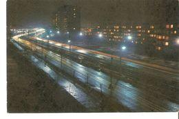 K2. Latvia SSR USSR Soviet Postcard Riga At Night Maskavas Street Strasse In Kengarags Photo By Balodis - Latvia