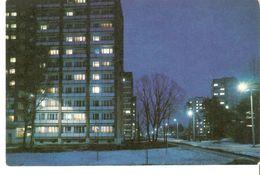 K2. Latvia Latvian SSR USSR Soviet Postcard Riga At Night Vangazu Vangazhu Street Strasse In Jugla Photo By Balodis - Latvia