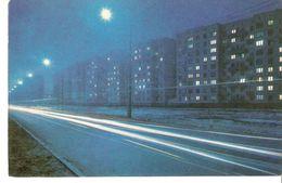 K2 Latvia Latvian SSR USSR Soviet Postcard Riga At Night Dzelzavas Street Strasse In Purvciems Photo By Balodis - Latvia