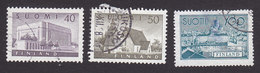 Finland, Scott #337-338, 350, Used, House Of Parliament, Church Of Lammi, South Harbor, Issued 1956-58 - Finland