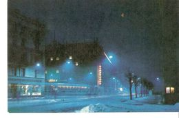 K2 Latvia Latvian SSR USSR Soviet Postcard Riga At Night Padomju Boulevard Photo By Balodis - Latvia