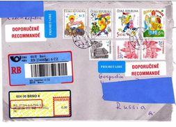 W] Enveloppe Cover Rep. Tchèque Czech Rep. Recommandé Registered Noël Christmas Label Vignette - Tsjechië