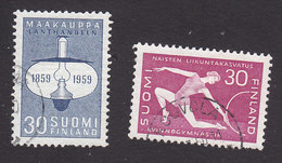 Finland, Scott #364-365, Used, Oil Lamp, Woman Gymnast, Issued 1959 - Finland
