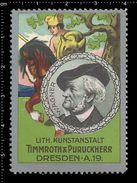 German Poster Stamps, Reklamemarke, Cinderellas, Richard Wagner, Composer, Komponist, Selbmanns, Horse, Pferd, Timmroth - Celebrità