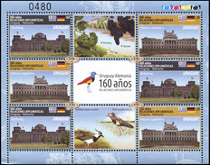 Uruguay. 2016. The 160th Anniversary Of Diplomatic Relations With Germany (MNH OG **) Miniature Sheet - Uruguay