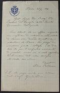Autografo Lettera Manoscritta Silvio Pellerano Senatore 1906 - Autographes