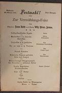 Collezionismo Menu Hotel Metropole In Tedesco Wiesbaden 20 Febbraio 1904 - Menus