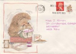 1991 Harrow GB COVER HEDGEHOG , HOURGLASS Pic  SLOGAN Pmk New Postage Rates From 16 Sept 1991 , Clock - 1952-.... (Elizabeth II)