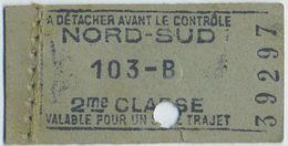 Métro De Paris. Ticket De 2ème Classe Nord-Sud Berlier-Janicot 103-B Valable Pour Un Seul Trajet . - Metropolitana