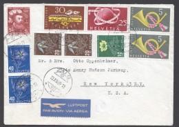 1949 Lettre Avion Pour Les USA Série Pro Juventute  Complète + Centenaire Des Postes Fédérales 30 Rp, UPU 25Rp - Schweiz