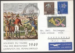 1949  Carte Officielle Journée Du Timbre - Vevey  Pro Juventute 20 Et 40 Rp - Svizzera