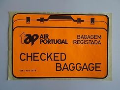 Year 1979 LUGGAGE LABEL TAP AIR PORTUGAL AIRPLANES AIRCRAFTS  AIRCRAFT AVIONS - Transport
