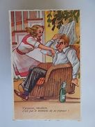ART POSTCARD COMIC DRUNK MAN & PIN UP WIFE WOMAN 1940 YEARS Z1 - Comics
