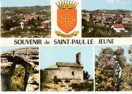 07---SOUVENIR DE SAINT-PAUL-LE-JEUNE--( Peu Courante Multivues  Blason )--voir 2 Scans - France