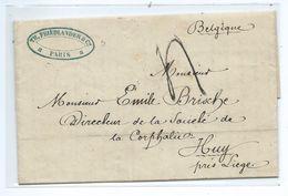 Huy ( Courrier De 2 Pages Adressé  à Mr Emile Brische Directeur De La Société De La Corphalie à Huy - Cachet  1856 ) - Huy