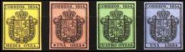 Spain 1854 EDIFIL 28-31 SERIE COMPLETA SERVICIO OFICIAL ESCUDO DE ESPAÑA MNH - 1850-68 Reino: Isabel II