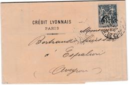 CL Petite Perforation Sur Sage Et Lettre Crédit Lyonnais1894 - 2 Scans - Perforés