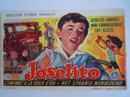 Affichette Film Saeta Del Ruisenor Joselito Jimenez L'enfant à La Voix D'or Het Spaanse Wonderkind De Antonio Del Amo - Affiches & Posters