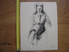 DESSIN ORIGINAL DE MODE FEMININE Signe Picard Boisselet Année 1944 - Dibujos