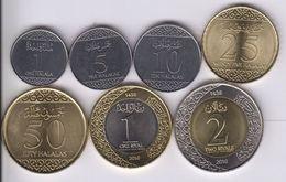 SAUDI ARABIA ARABIA SAUDITA SERIE COMPLETA DA 7 MONETE 2-1- 0,50-25-RIALS 10-5-1 HALALAS FDC UNC ( 1 HALALAS RARO) 1 - Arabia Saudita
