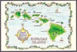 Hawaii - Hawaiian Islands, Map, Maps, Kauai, Ohau, Molokai, Maui, Big Island, Postcard - Big Island Of Hawaii