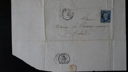 France - Lettre Enveloppe - 20c Bleu Napoléon III Non Dentelé YT N° 14 - Année 1860 - 1849-1876: Classic Period