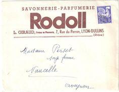 4248 LYON Rhône Lettre Entête Savonnerie Parfumerie RODOLL Avec Pub Envoi En Nombre 8 F Coq Préoblitéré Yv 109 - Santé