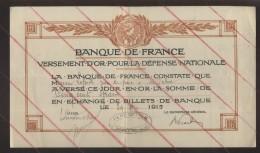 BANQUE DE FRANCE - BORDEREAU DE DEPOT DE VERSEMENT D'OR EN 1915 - CACHET DE LA PERCEPTION D'ORBEC (CALVADOS) - Documentos Antiguos